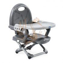 Chicco POCKET SNACK székmagasító - Dark Grey étterembe, kirándulásra elvihető