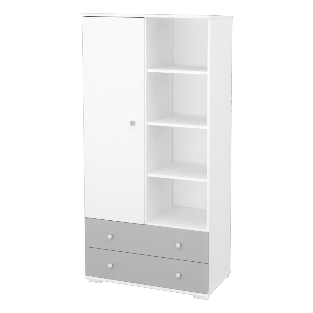 Timba Erik szekrény 1 ajtós 2 fiókos ezüst-fehér