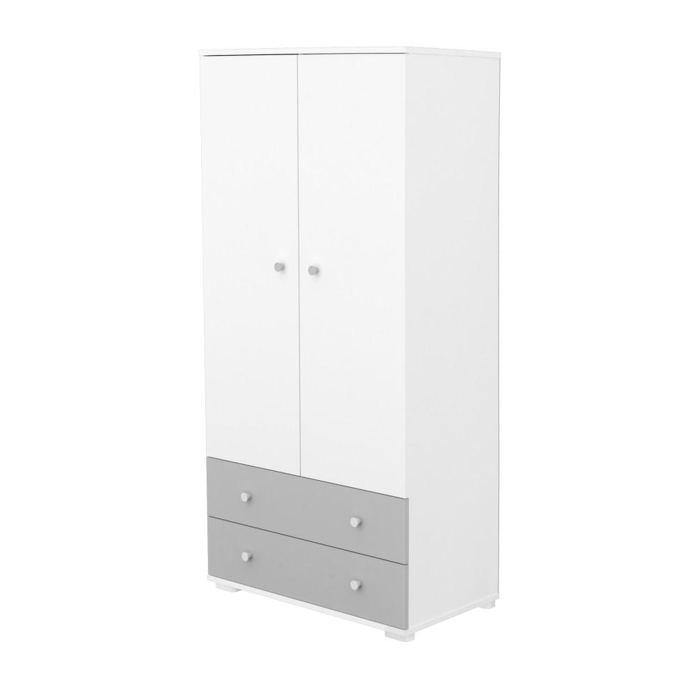 Timba Erik szekrény 2 ajtós 2 fiókos ezüst-fehér