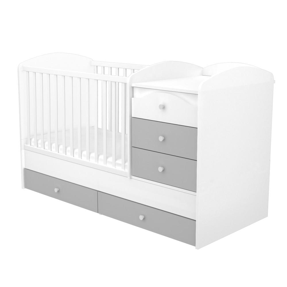 Timba Erik maxi kombi ágy 5 fiókos ezüst-fehér