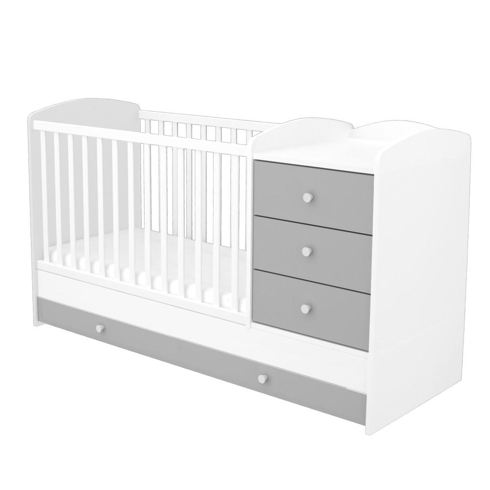 Timba Erik kombi ágy 3 fiókos ezüst-fehér