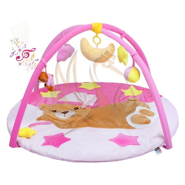 PlayTo játszószőnyeg zenével - alvó maci rószaszín