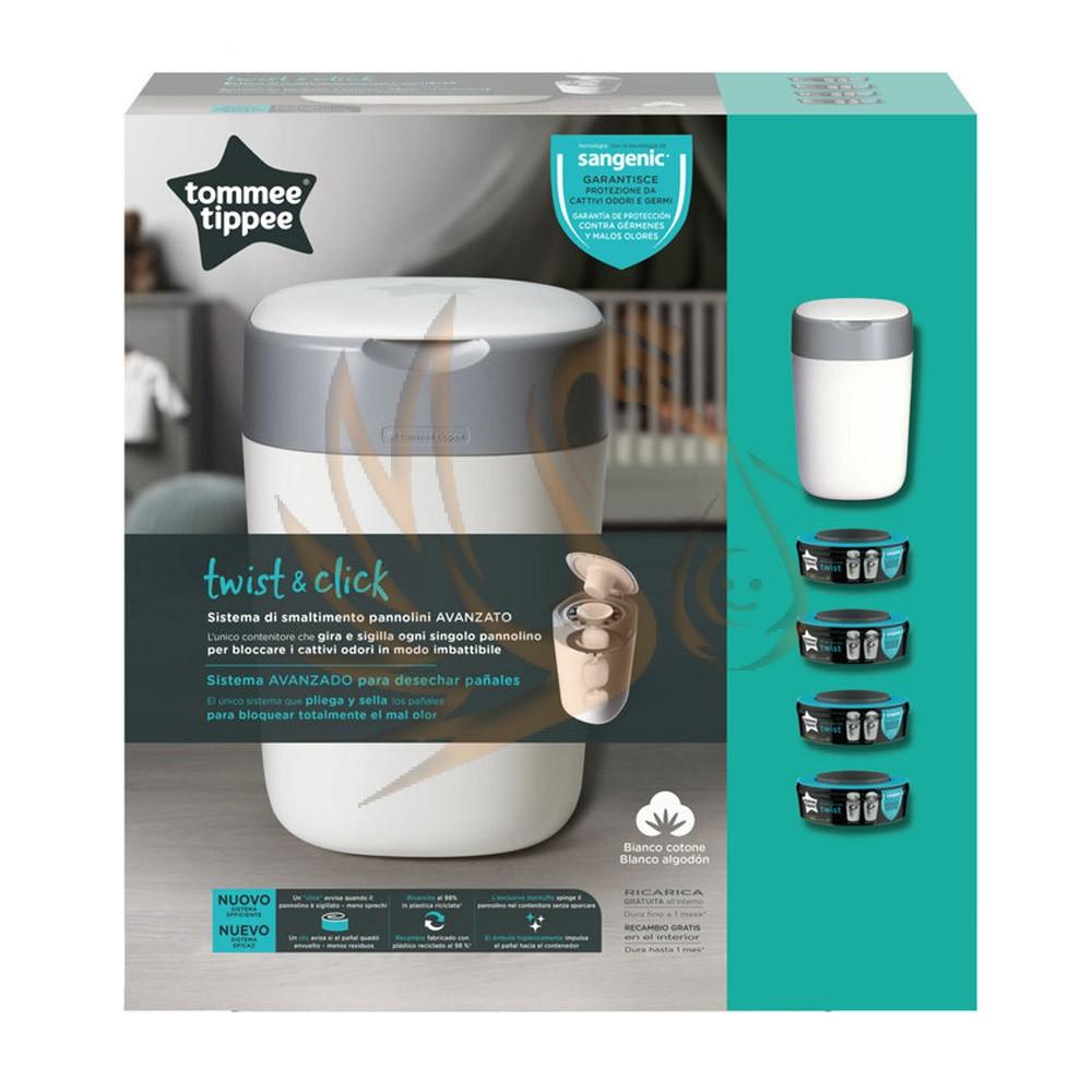 Tommee Tippee pelenkacsomagoló utántöltő 4db ajándék pelenkatároló szemetessel Twist & Click