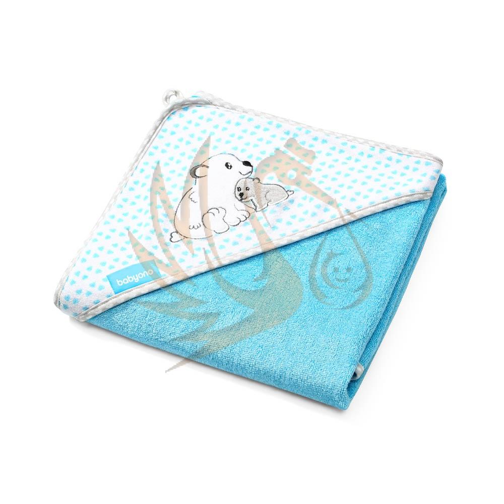 BabyOno fürdőlepedő kapucnis 100x100cm bambusz 346/02 jegesmedve